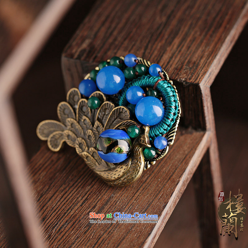Peacock Blue Glaze brooches ethnic accessories sweater coats of nostalgia for the paper clip Chest Flower decorations female