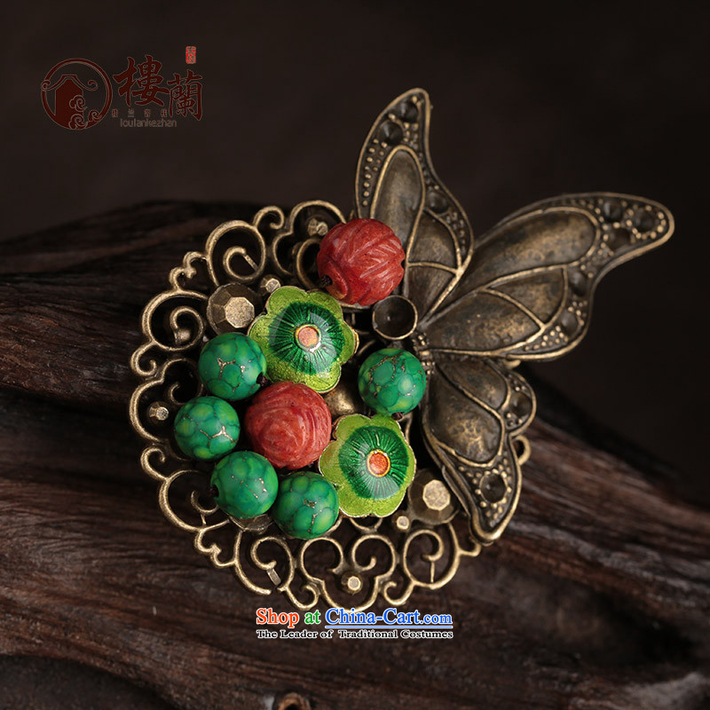 Ethnic sweater brooches retro butterfly clip coats Chest Flower Cloisonne Accessory with ornaments women coral