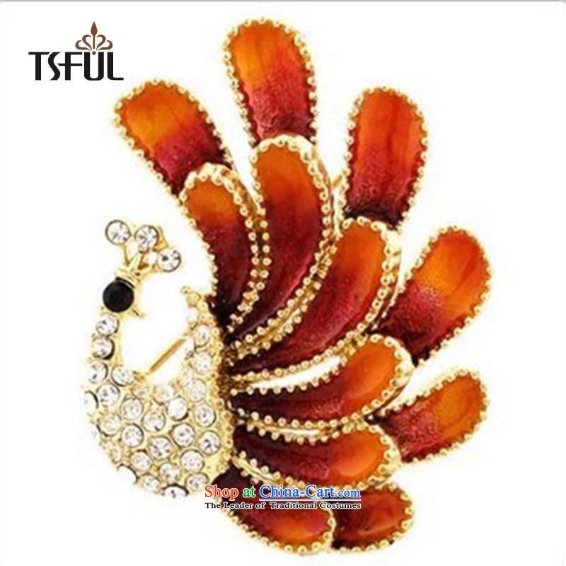 聽聽The Korean version of the upscale peacock tsful Chest Flower opals retro brooches marriage Chest Flower Clothing Accessories Orange