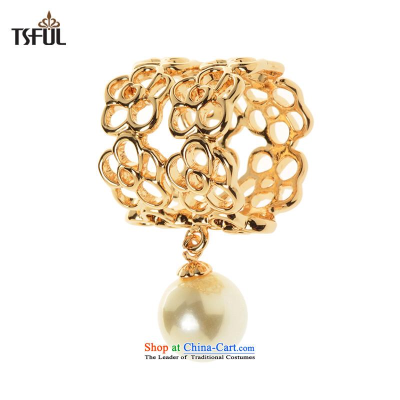 Tsful聽genuine brooches female silk scarf deduct 3 ring wild scarf silk scarf ring Korean air hostesses Chest Flower Nga Avatar - Gold