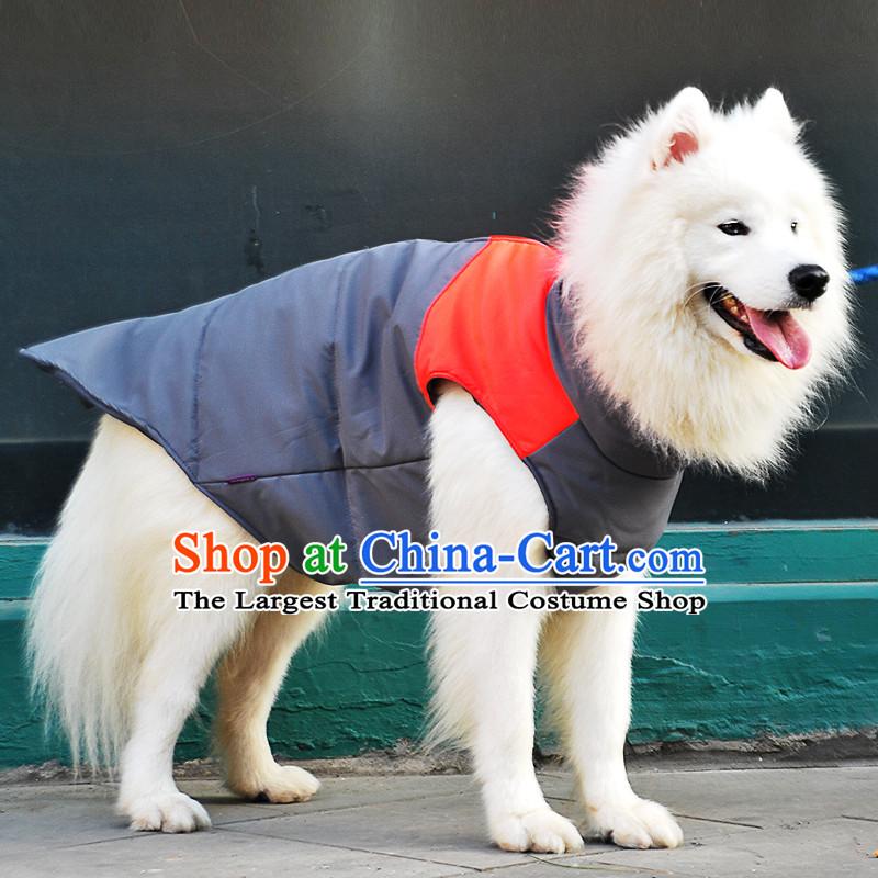 Pet dog warm winter clothing gross clothes Samoa Benaiah dogs in large dogs clothes vest orange 16, applicable Back Long Chest 93_104CM 90CM neck Wai 55
