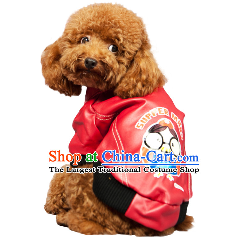 Dog clothes locomotive morph replacing Super Queen Mary autumn and winter leather garments pets dress tedu lapel leather garments _red_ XXL_ 51_57cm chest