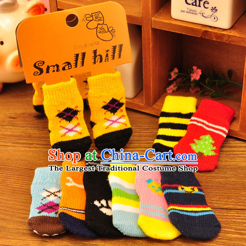 Some raise their heads Park wave after wave of pure cotton socks pets dogs toes socks and shoes and socks kit has a non_slip socks knitting dog SOCKS 4 pack S